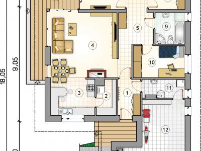 Super funkcjonalny dom parterowy z rekuperacją pracowni architektonicznej Atrium.